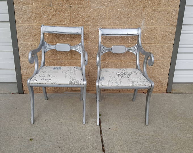 PICK UP ONLY Pair Vintage Metallic tarnished silver arm chairs, shabby chic glam, distressed, metallic,  fabric, france, french county,