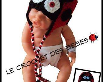 """made to order"" Ladybug baby bonnet"