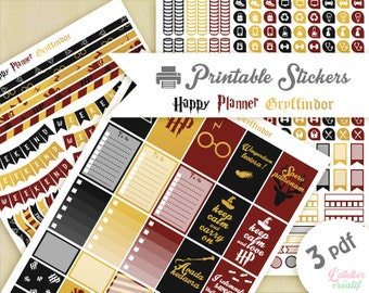 Harry Potter Gryffindor house | Printable stickers | 3 pdf | Instant download | Planner, Happy planner