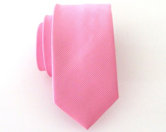 Mens Ties. Necktie Pink Stripes Men's Skinny Tie