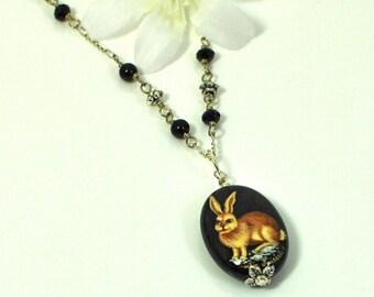 Brown Rabbit Bunny Necklace Umber - Bunny Jewelry - Rabbit Necklace - Pet Bunny Rabbit Pendant - Rabbit Jewelry - Bunny Pendant - Woodland