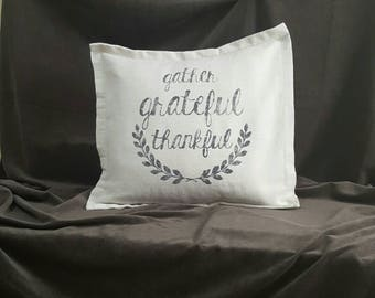Rustic linen pillow cover-gather-grateful-thankful-decorative throw pillow cover