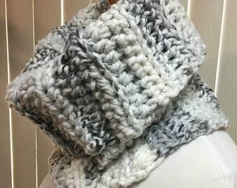 Cowl, Gray, White, Turtleneck, Crochet Scarf, Chunky, Neck Warmer, OOAK, Handmade, Winter, Gift for Him, Gift for Her