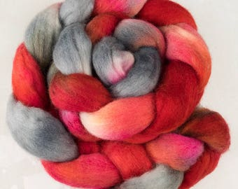 Hand dyed fibre, corriedale