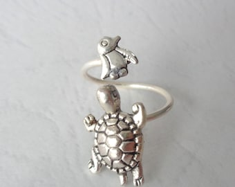 silver penguin turtle ring wrap style, adjustable ring, animal ring, silver ring, statement ring