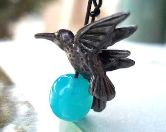 Hummingbird bird earrings with pacific blue egg black dangle earrings for women matte black tree sparrow drop earrings girl gift raven