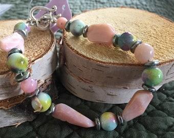 Pink Opal Beaded Bracelet