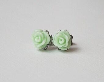 Handmade Earrings Mint Rose Earrings Mint Green Earrings Green Flower Post Green Rose Post Earrings Light Green Rose Earrings