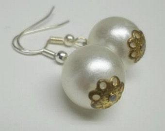 vintage white faux pearl earrings,white drop button earrings,white faux pearl drop button earrings,wedding,bridal,prom