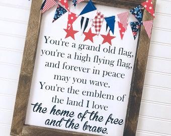 You're a Grand Old Flag Lyrics Framed Wood Sign
