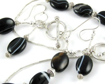 Black Agate and Hill Tribe Silver three piece Signature Design by OklahomaMama