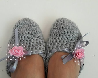 Crochet Slippers Crochet Flats Indoor Shoes House Shoes Women Fashion Accessories Bridal Gift Handmade Gift Ideas