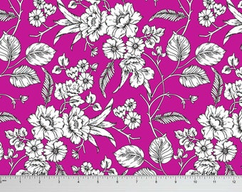 Magenta Stretch Velvet Fabric, Floral Print, Sewing Material, Quilting Moss Georgette Fabric, Crafting, Fabric By The Yard, MIN-FL9B