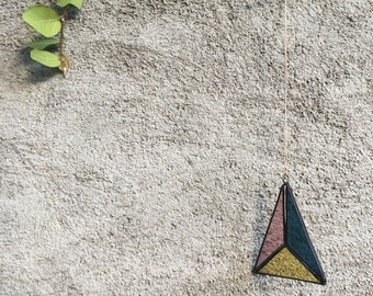 Multi-Colored Stained Glass Triangle Sun-catcher Ornament with Hemp Cording