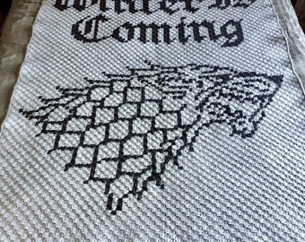 "King in the North banner crochet blanket, OOAK || 60"" x 48"" 