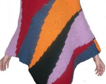 Hand knitted mohair and wool poncho