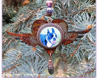 Rainbow Bridge Pet Photo Ornament, Angel Pet Rusted Ornament, Custom Pet Sympathy Gift, Personalized Pet Photo Ornament, Dog Photo Ornament