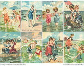 GREETINGS from the SEASIDE Vintage Postcards - Instant Download Digital Collage Sheet
