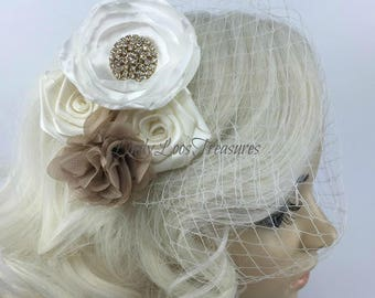 Beige Flower Birdcage Face Veil Fascinator, Birdcage veil with flowers, Bandeau birdcage veil, Small bridal veil, Flower Fascinator