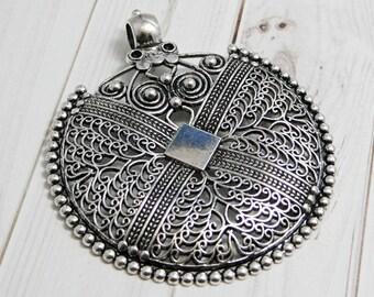Medallion etsy filigree pendant bohemian pendant medallion pendant silver pendants large pendants metal pendant 2077 aloadofball Choice Image