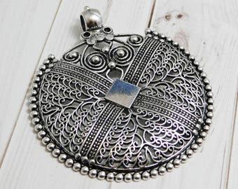 Medallion pendant etsy filigree pendant bohemian pendant medallion pendant silver pendants large pendants metal aloadofball Image collections