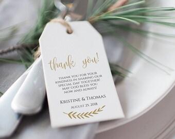 Thank You Tags, Wedding Tag, Favor Tag, Wedding Favor, Thank You Tag, Printable Wedding Tags, Instant Download, DIY Wedding, Gold, 0004