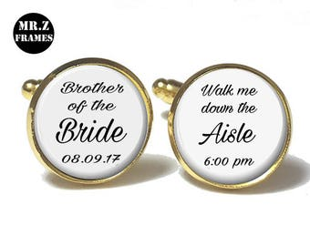 Father Of The Bride Cufflinks, Personalized Cufflinks, Wedding Cuff links, Custom Cufflinks, Photo Cufflinks,Walk Me Down The Aisle
