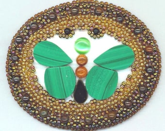Butterfly Beaded Brooch. Insect . Green Jade Onyx Slices. Mother of Pearl Cat's Eye Gold Stones - Butterfly Effect by enchantedbeads on Etsy