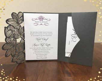 Gorgeous Laser Cut Wedding Invitations Pocket Wedding Die Cut Laser Cut Traditional Gray Shimmer Wedding Invites Laser Cut