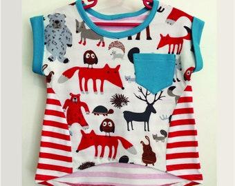 Colourful, fun kids T shirt, PDF sewing pattern, Sunday T Shirt, girls summer T shirt pdf pattern sizes 2 to 14 years