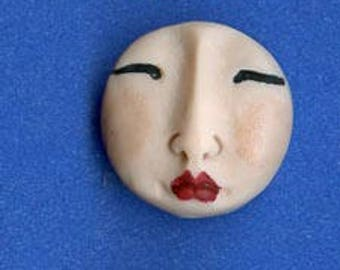 3 Fleshtone Polymer Detailed  Asian Face  Beads Top  drilled AFBT 3