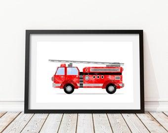 Firetruck wall art Fire engine print Fire truck print Fire truck wall art Watercolor decor Kids bedroom wall art Transportation art