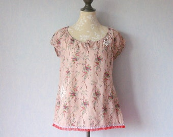 Gathered short sleeves blouse, vintage fabric pink and red flowers, recycled red sequin dots flowers, guipure lace, lace blouse bohem