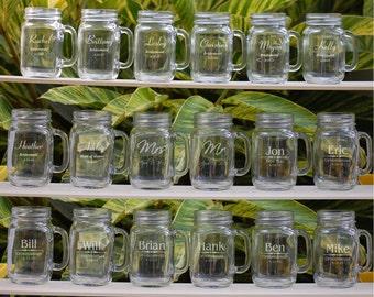 Personalized Mason Jar Mugs, Mason Jars, 15 Wedding Party Personalized Mason Jar Set, Groomsmen Gift, Bridesmaid Gift, Engraved Wedding Gift