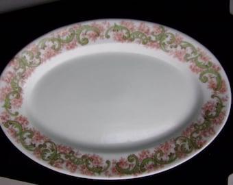 Antique vintage C H Field Haviland Limoges gravy boat plate green and pink pattern
