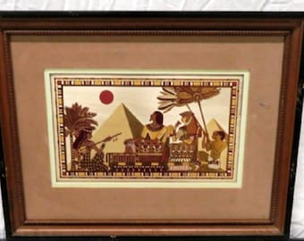 "Franklin Mint Egyptian etched precious metals artwork by Kinuko ""Moonlight on the Royal Pyramids"""
