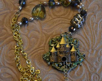 necklace castle dragon hand painted green brown glass beads hearts sparkle