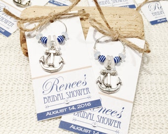 Nautical Favors, Anchor Favors, Personalized Favors, Nautical Bridal Shower Favors, Nautical Wine Glass Charms, Anchor Wine Glass Favors