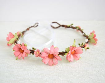 Pink Chrysanthemum Flower Crown, festival flower crown, wedding hair accessories, flower headpiece, floral crown, spring wedding - ELLIE