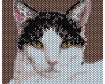 Black & White Cat Tapestry Peyote Bead Pattern, Seed Beading Pattern, Miyuki Delica Size 11 Beads - PDF Instant Download