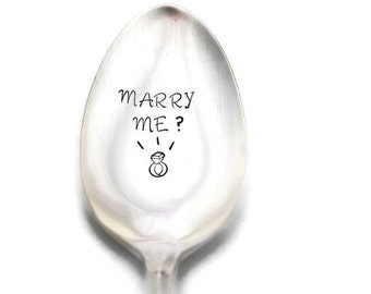 Hand Stamped Vintage Spoon with Diamond Ring, Something Old Engagement Marriage Proposal Idea, Marry Me Spoon