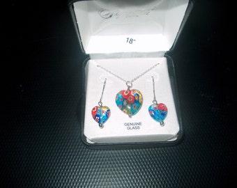 Vintage Sterling Silver Necklace w/ Glass Pendant & Pierced Earrings, Fine Jewelry