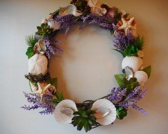 Sea Shell Succulent Wreath- Coastal Home Decor-Beach Wreath-Door Wreath-Summer Wreath-Faux Wreath-Wreath With SeaShells-Coastal Wreath