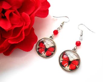 Light siam Swarovski Crystal bead with a red Butterfly cabochon earrings