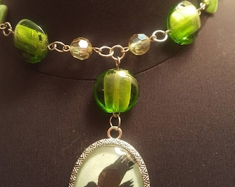 Crow raven glass cameo necklace SALE