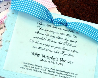 Set of 30 Baby Poem Plantable Baby Shower Party Favor Eco Friendly Earth Friendy Wild Flower Seeds
