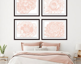 Flower Heads (Series D4 - Horizontal) Set of 4 - Art Prints (Featured in Blush) Colors Customizable