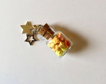 Mini Origami Stars in Small Glass Bottle Charm