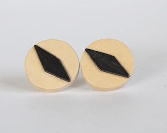 Vintage Mod Diamond Shape Wooden Geometric Earrings