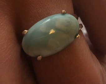 Larimar natural stone, sterling 925 silver ring / size 59.2